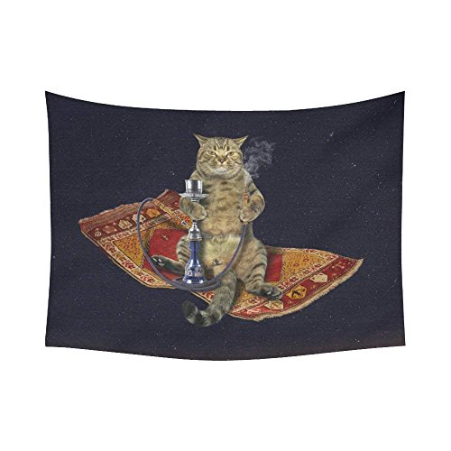 Smoking Cat - ROBIN GREEN Funny Animals Home Decor Tapestries Wall Art, Custom Cat Smoking a Hookah Tapestry Wall Hanging Art Sets 80 X 60 Inches