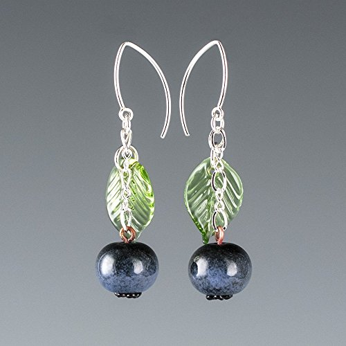 Artisan Lampwork Earrings (Glass Blueberry Earrings with Light Green Glass Leaves on Sterling Silver Marquise Wires)