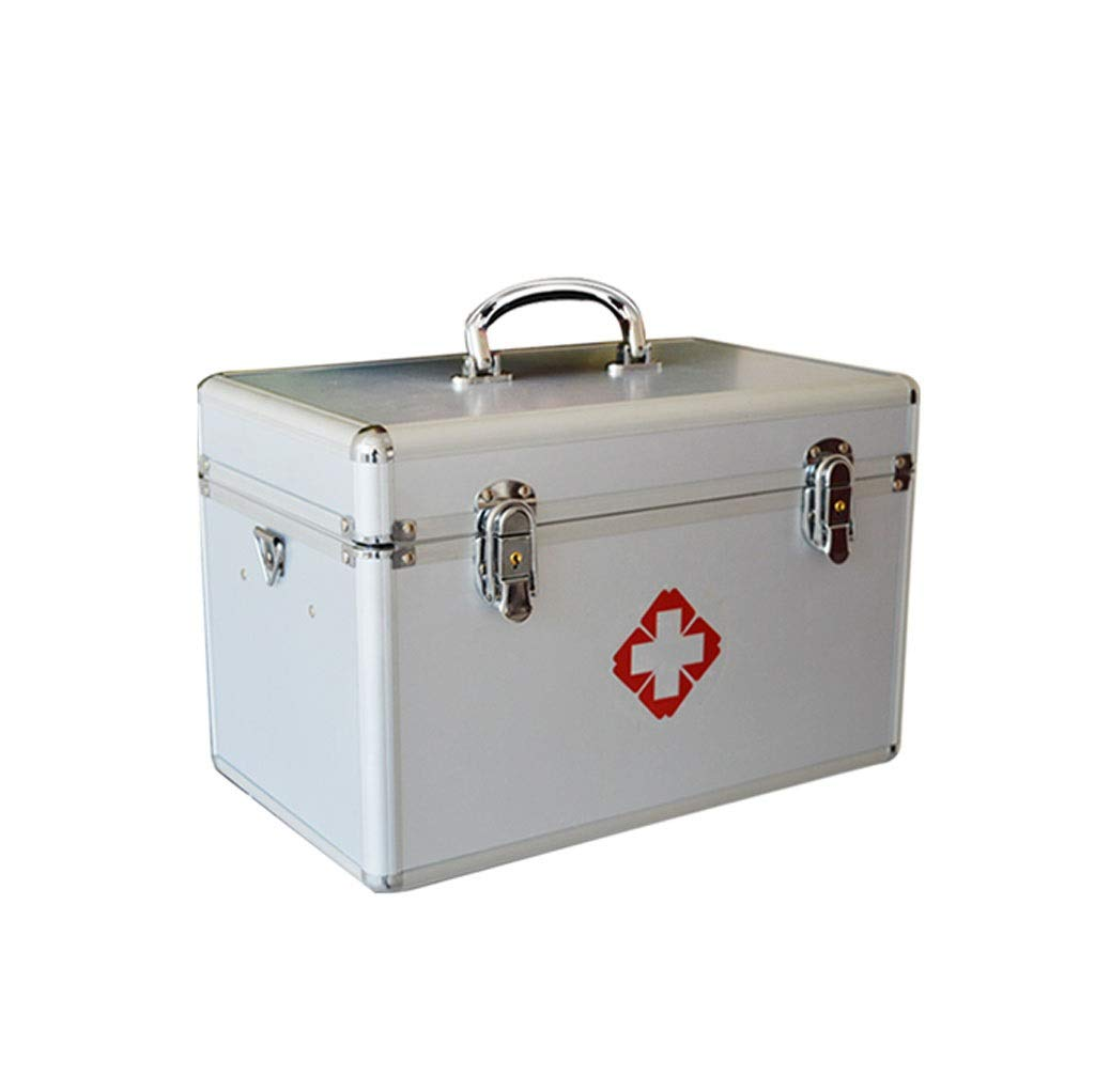 Medicine box Large Multi-Layer Household Medicine Storage Box Medical Household Storage Box First Aid Clinic HUXIUPING (Color : Silver, Size : 12 inches)