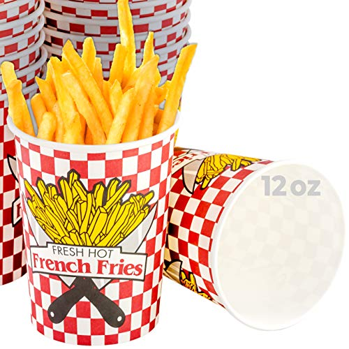 Grease-Proof Paper French Fries Cups 250 Pack. Each Sturdy Fry Container Holds 12 oz and is Sized for Handheld Snacking! Great for Concession Stands, Fundraiser Carnivals and Food Trucks!