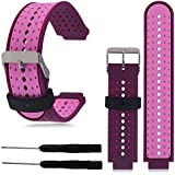 BESTeck Replacement Silicone Bands With 2PCS Pin Removal Tools For Garmin Forerunner 220/230/235/620/630/735XT (No Tracker, Replacement Bands Only) (Purple/Pink)