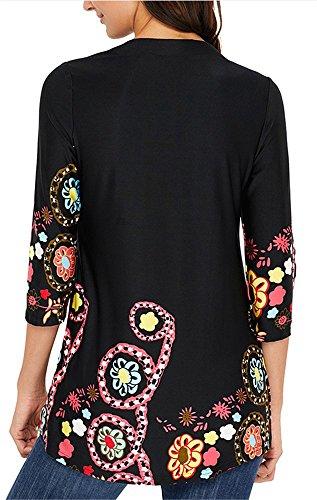 Tunique 3 Lache 4 Fleur Chic Imprim Shirt et Manche Tops Chemise YOGLY Femme Casual Blouse T Noir Femme 08zvnPYq