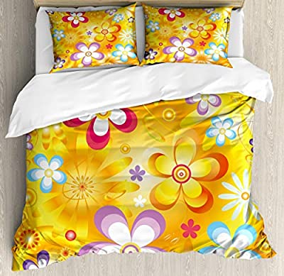 Duvet Cover SetVibrant Daisies Cheerful Duvet Cover SetDecorative 3 Piece Bedding Set with 2 Pillow Shams