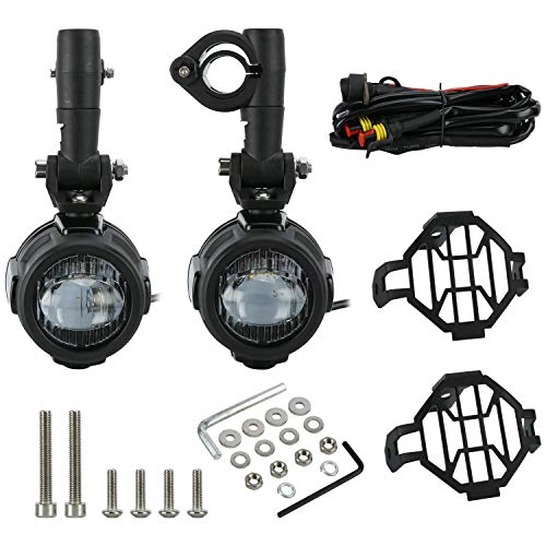 Pair of Spot LED Motor Fog Light Driving Lamp Kit with Protect Guards Wiring Harness Compatible with BMW K1600 R1200GS ()