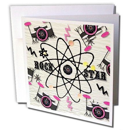 Lee Hiller Designs Drums - ic Rock Star Drum Kit on cream paint - 6 Greeting Cards with envelopes (gc_97685_1)