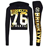 A2Z 4 Kids® Girls Tops Kids Brooklyn 76 Print Hooded Crop Top Legging Lounge Wear Set 7-13Yr