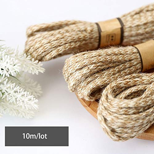 FINCOS 10M 6mm Manual Double Color Strand Woven Burlap Rope Natural Jute Rope Twine String Cord Hemp Rope for DIY Garden Wrap Craft Dec - (Color: Natural Color 6mm) - Hemp Twine 6 Strand
