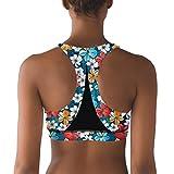 Lkegc Womens Bright Tropical Flowers Fashion Printed Yoga Tops Bra