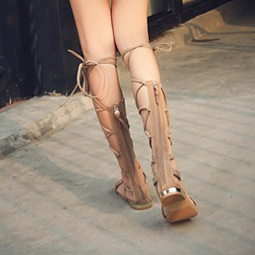 YOUJIA Womens Cut Out Gladiator Sandals Flat Knee Boots Strappy Lace Up Summer Shoes #1 Beige TAYQy