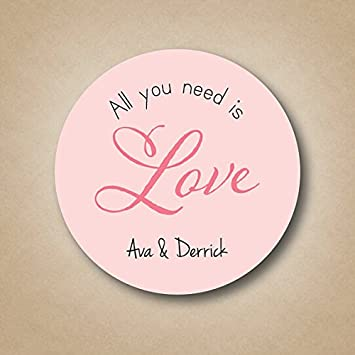 all you need is love bridal shower favor stickers wedding favor labels candy buffet labels round
