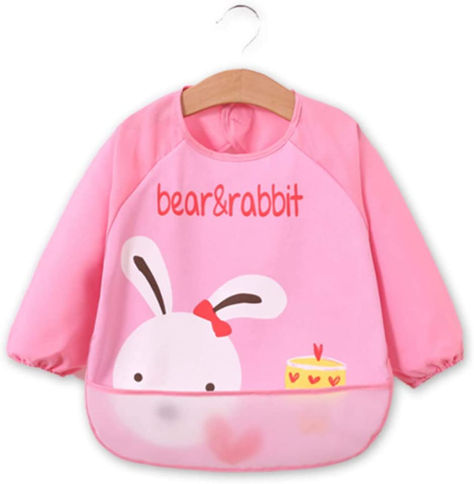 Baby Bibs Unisex With Sleeves 3PCS Waterproof Long Sleeve Bibs Arts Craft Painting Apron With Front Pocket For Infant Toddler 6-36 Months