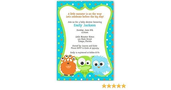 Amazon Com Little Monster Baby Shower Invitations Orange