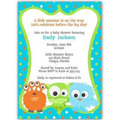 Little Monster Baby Shower Invitations Sprinkle Invites Orange Blue Turquoise Polka Dots Monsters Gender Neutral Team Green Unisex Custom Personalized (10 Count)