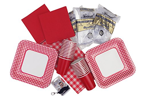 Best Red Gingham Checked Paper Dinner Plates Dessert Plates & Matching Napkins Decorations Party Supplies Popular Birthday Party Entertaining Supplies 24 Sets Unique Weird Birthday (Mustache Pantyhose)