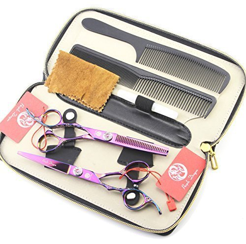 Left Hand Using Professional Barber Hair Cutting Scissors Flower Carving Salon Hair Thinning Kit with Leather Case(Purple) from Purple Dragon