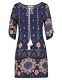 plus size blue jean dress - Grace Karin Women's Boho Bohemian Tribal Print Autumn Beach Dress Size 2XL Navy Blue