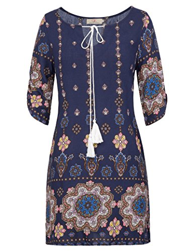 Women's Boho Tied V-Neck Ethnic Printed Casual Mini Dress Size M Navy Blue