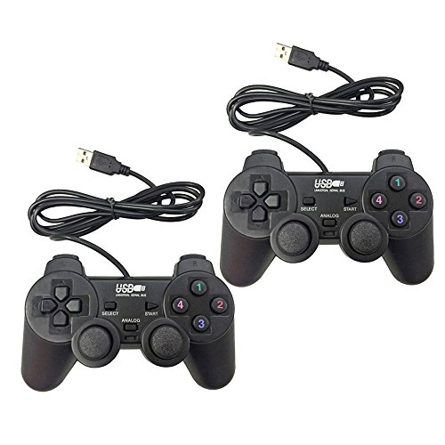 Poulep USB Pc Computer Vibration Shock Wired Gamepad Game Controller Joystick Game Pad (Black and Black)