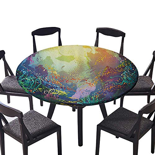 Round Premium Tablecloth Underwater with Coral Reef and Fish Aquarium Artistic Home for Birthday Party, Graduation Party 59