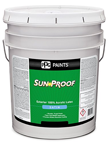 76-45XI/05 Acrylic Paint, Satin, 5 gal, Sun Proof, Exterior Paint for House and Trim, White