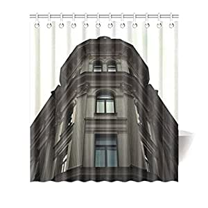 Colorful Design Polyester(Fabric) Shower Curtain 66inch(w) 72inch(h) with Hooks and Holes[Great Building]