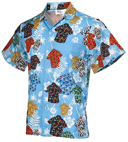 Funny Guy Mugs Men's Shirts On Shirt Hawaiian Print Button Down Short Sleeve Shirt, Small