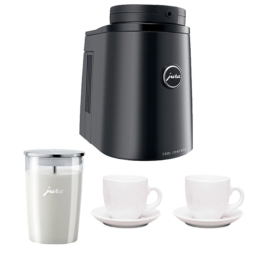 Jura 67083 Cool Control Milk Cooler Includes Jura Glass Milk Container and Two Ceramic Espresso Cups and Saucers