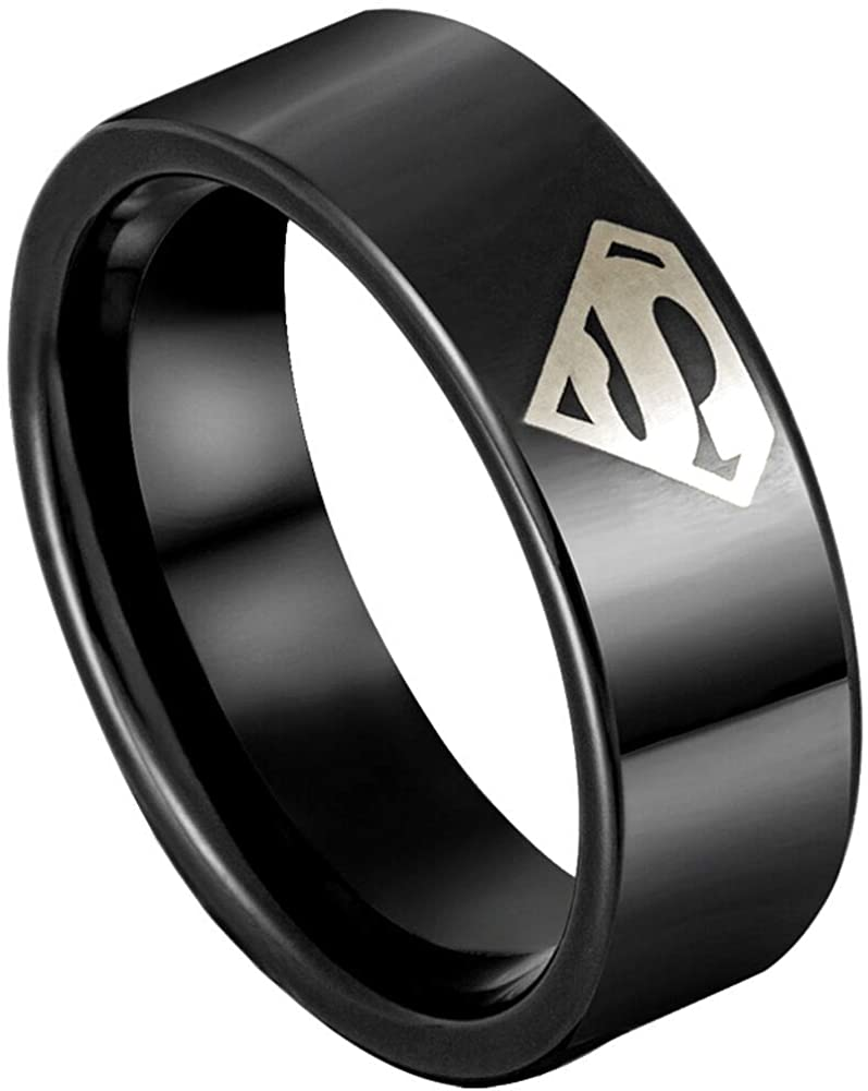 Superman Ring Titanium 4 Colors Mens Unisex Superhero Size 6-12 Wedding Engagement Band