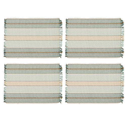 Sweetwater Aqua Stripe 13 x 19 All Cotton Placemat Pack of 4 (Wash Sweetwater)