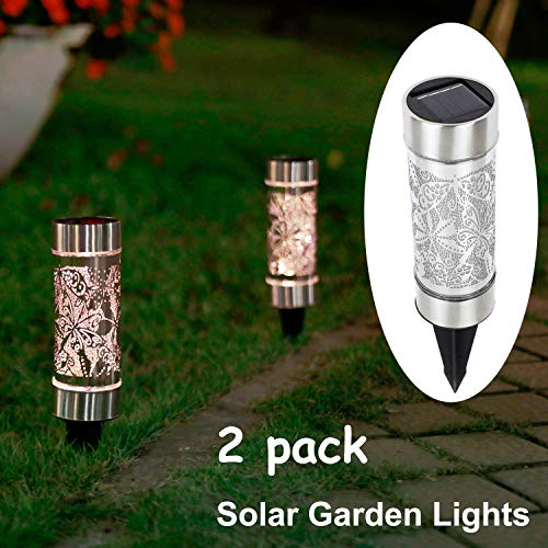 Kaixoxin 2 Pack Solar Bollard Lights Outdoor, 5 LED Stainless Steel Solar Path Lights, Butterfly Dragonfly Fairy Decoration Lights Outdoor Waterproof for Garden,Yard,Lawn,Patio,Walkway