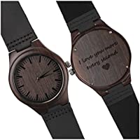 Wood Watches for Men Black Leather Strap Wristwatches Genuine Leather Band with Gift Box - I Love You More Every Second - Personalized Gifts for Men Husband Gift Anniversary Gift