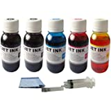 ND Brand Dinsink 5x100ML Refill ink for Brother LC71 LC75 LC79 cartridges and MFC-J280W J425W J430W J435W J5910DW J625DW J6510DW J6710DW J6910DW J825DW J835DW printers.The item with ND logo.