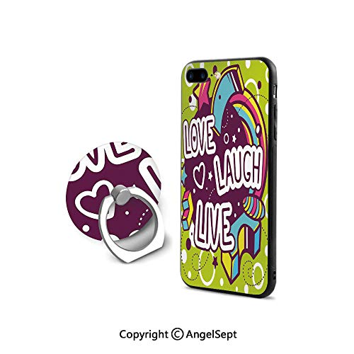 2008 Ultimate Star Materials - iPhone 7/8 Case with 360°Degree Swivel Ring,Cartoon Style Line Art Figures Stars Cubes Circles Hearts Cheerful Decorative,Cushion Protective Cute Case,Multicolor