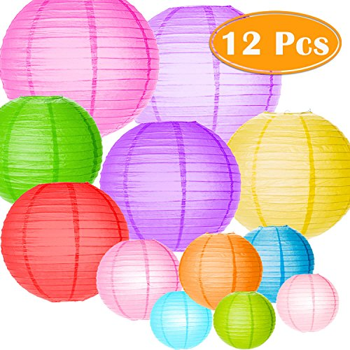 Paxcoo 12 Pack Paper Lanterns with Assorted Colors and Sizes by PAXCOO
