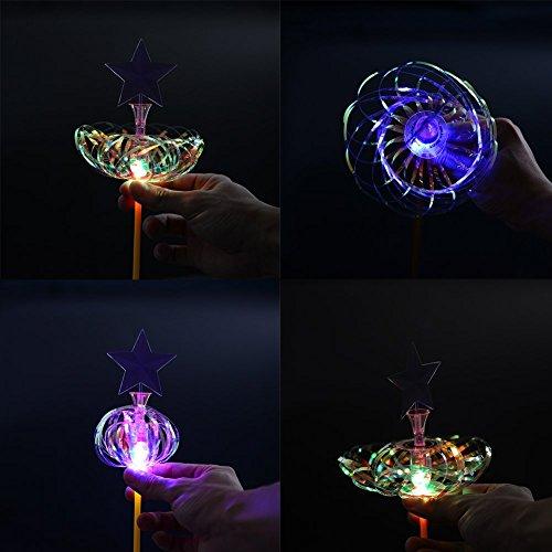 - 3Pcs Hot Amazing Light Up LED Sparkling Rainbow Bubble Flower Spindle Spinner Magic Wand Christmas Gift Kids Toy OOYE