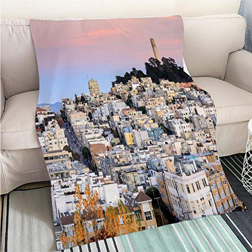 Super Soft Flannel Thicken Blanket Coit Tower on Telegraph Hill as seen from Russian Hill at Sunset Perfect for Couch Sofa or Bed Cool Quilt