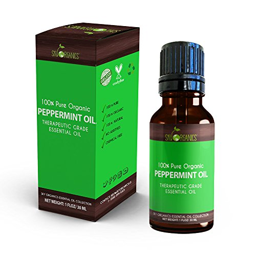 Best Peppermint Essential Oil By Sky Organics-100% Organic, Pure Therapeutic Grade Peppermint Oil-For Diffusers, Aromatherapy, Massage, Allergies, Headaches -Aroma Scented Oil For Candles & Bath 1oz