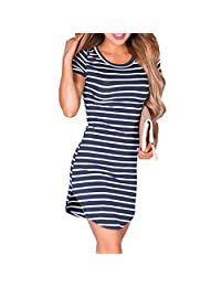 Women's Sexy Striped Printed Short Sleeve Casual Tunic Party Cocktail T Shirt Dress