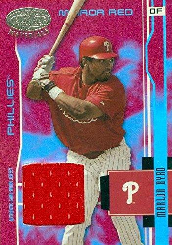 - Marlon Byrd player worn jersey patch baseball card (Philadelphia Phillies) 2003 Leaf Materials #142
