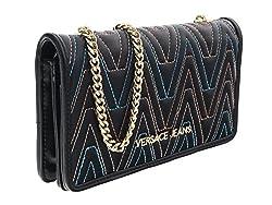 Versace Ee3vrbpy4 Black Multicolor Wallet On Chain For Womens