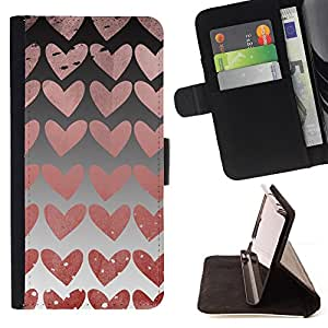 DEVIL CASE - FOR Samsung Galaxy Note 3 III - Hearts Wallpaper Pink Love Relationship - Style PU Leather Case Wallet Flip Stand Flap Closure Cover