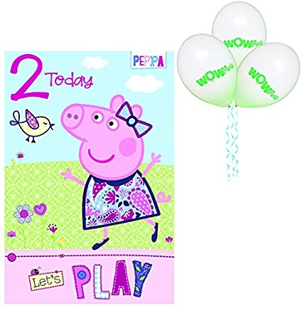 WOW Peppa Pig - Tarjeta de felicitación de 2º cumpleaños ...