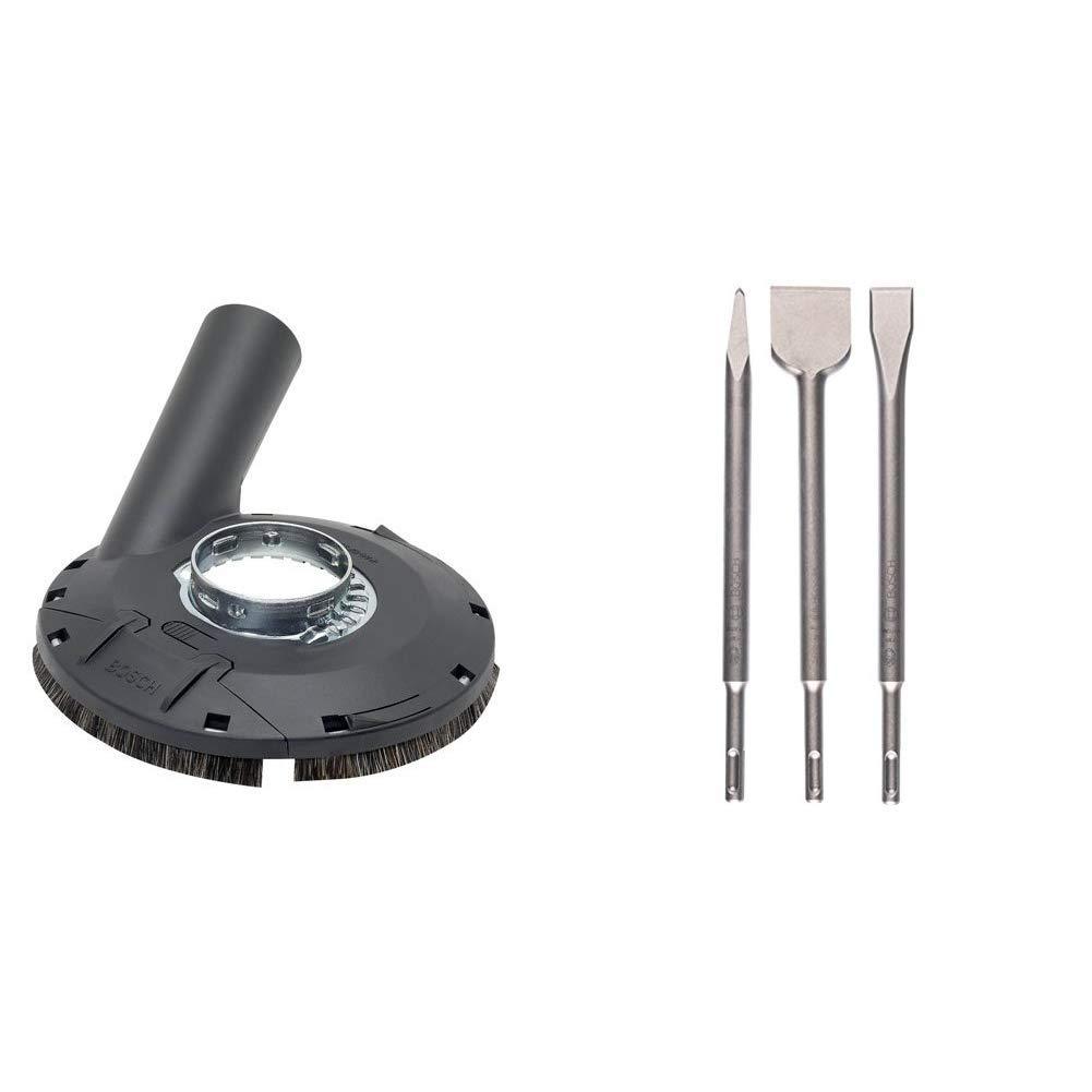 GFK , Holz, f/ür Winkelschleifer /& Trennscheiben-Set 5tlg. Bosch Professional Absaughaube mit B/ürstenkranz, Farbe, Lacke, Kunststoff Metall, /Ø 125 mm, f/ür Winkelschleifer