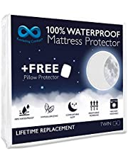 Everlasting Comfort Waterproof Mattress Protector - 2 Pillow Protector - Fitted Sheet Cover for Bed - Quiet Dual Layer Plastic Membrane Pad