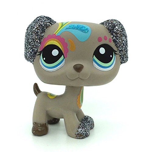 ZAD Rare Littlest Pet Shop Gray Sparkle Dalmatian Puppy Dog Blue Eye LPS #2344 -