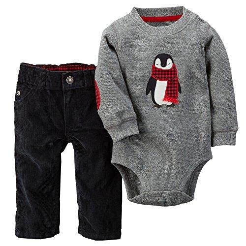 (Carters Baby Boys 2-Piece Elbow Patch Bodysuit & Corduroy Pant Set Grey NB)