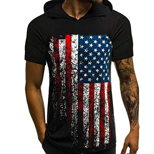 (Realdo Mens Amercian Flag Tops Shirt,Casual Athletic Sport Pullover Hoodie Vest T-Shirt for Men)