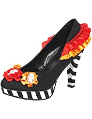 Womens Multi Color Pumps Red Orange Black White Shoe Flower Skulls 4 Inch Heels