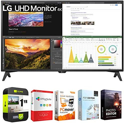LG 43UN700T-B 43-inch 4K UHD 3840x2160 IPS USB-C HDR 10 Monitor Bundle with 1 Year Extended Protection Plan and Tech Smart USA Elite Suite 18 Standard Editing Software Bundle