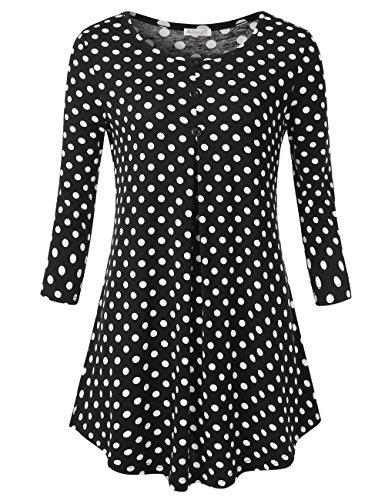 Women's O Neckline Polka Dots Tunic, Summer Casual Black Regular Fit T-Shirt Tunic Tops Blouse Polka Dots 2XL
